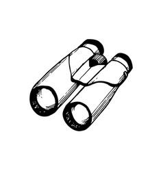 hand sketched binoculars vector image
