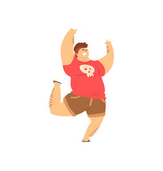 handsome overweight man in casual clothes fat guy vector image