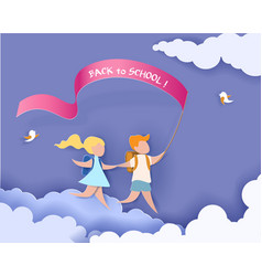 happy children boy and girl run back to school vector image