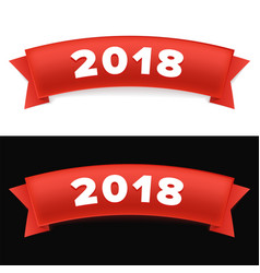 happy new year 2018 new year red ribbon with vector image