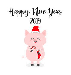 Happy new year 2019 christmas pig holding candy vector