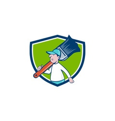 House Painter Paintbrush Walking Shield Cartoon vector
