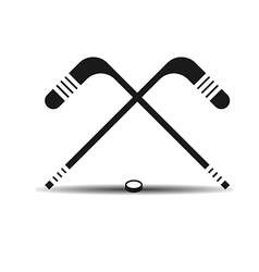 icon hockey sticks and a puck with shadow vector image