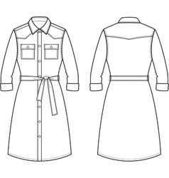 Jean dress Front and back vector