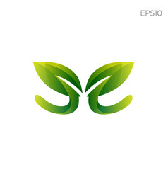 leaf nature initial e logo icon element vector image