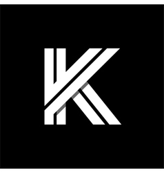 Letter K wide white stripes Logo monogram emblem vector