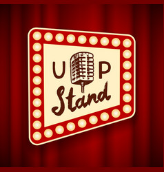 Lettering stand up calligraphic text comedy show vector