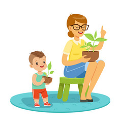 Little boy learning about plants with teacher vector