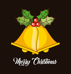 Merry christmas bells jingle decoration holly vector