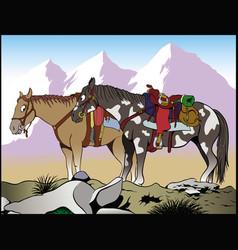 Mountain horses vector