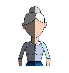 old woman with hairstyle and casual cloth vector image
