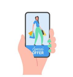 online shopping banner concept sale mobile app vector image