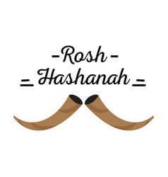 Pair of shofars with text rosh hashanah vector