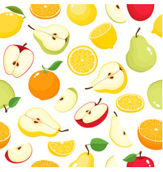 pattern with pears apples oranges lemons vector image