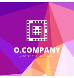 Pixel style geometric O letter logo on low vector