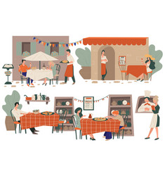 pizzeria or restaurant terraces with clients vector image