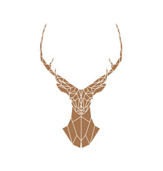 polygonal brown deer with horns vector image