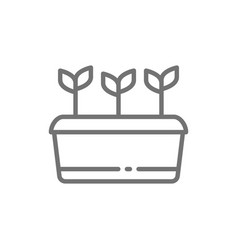 Potted plant seed planting agriculture line icon vector