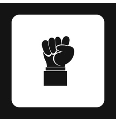 Raised up clenched male fist icon simple style vector image