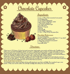 Recipe chocolate cupcake vector