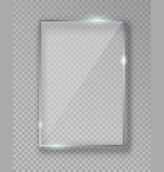 Rectangle shiny glass frame isolated on fake vector