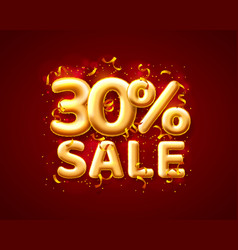 Sale 30 off ballon number on red background vector