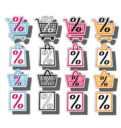 Sale shop bag basket and cart icons set discount vector
