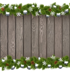 Seamless Christmas Old Board with Silver Balls vector image