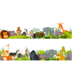 Seamless frieze with wild african animals vector