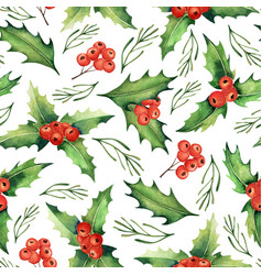 seamless watercolor christmas pattern vector image