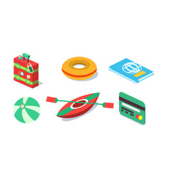 set isometric travel objects suitcase vector image