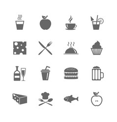 Set of food and drinks icons restaurant signs vector