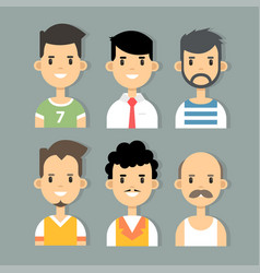 set of stylish male characters in modern vector image