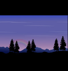 silhouette of hill and tree at night vector image