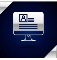 Silver computer monitor with resume icon isolated vector