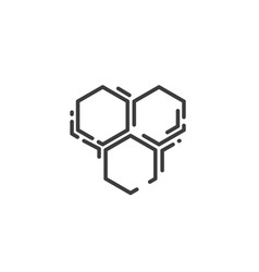 simple line art icon three bee hexagonal vector image