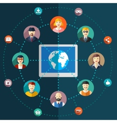 Social network flat with avatars earth vector
