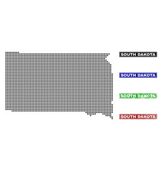 South dakota state map in dot style with grunge vector
