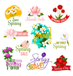 Spring sale label and emblem set with flowers vector