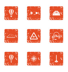 Statement icons set grunge style vector
