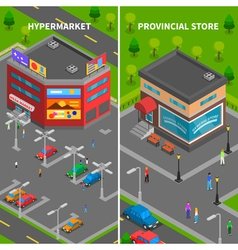 Store buildings isometric vertical banners vector