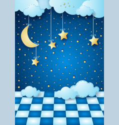 Surreal night with hanging moon clouds and floor vector