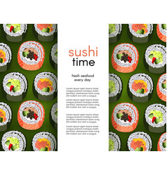 sushi banner with fresh rolls pattern background vector image