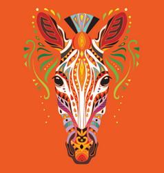 Tangle african zebra colorful isolated vector