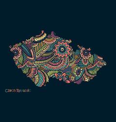 Textured map czech republic hand drawn vector