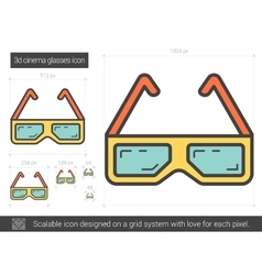 Three d cinema glasses line icon vector image