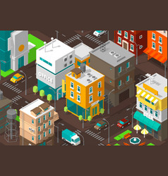 Town district street isometric road intersection vector