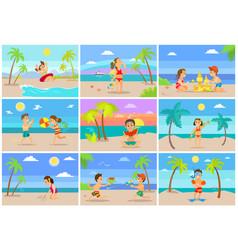 tropical vacations children seaside having fun vector image