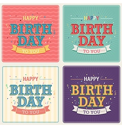 Vintage card - Happy birthday set vector