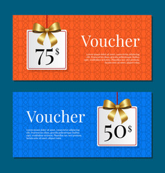Voucher on 50 -75 set of posters gold tags label vector